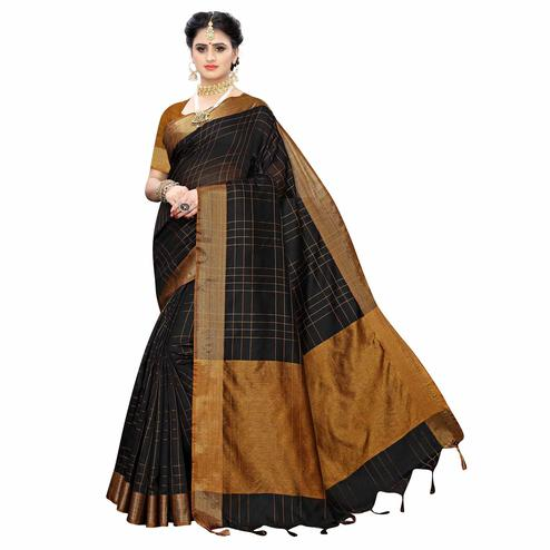 Imposing Black Colored Festive Wear Woven Cotton Silk Saree