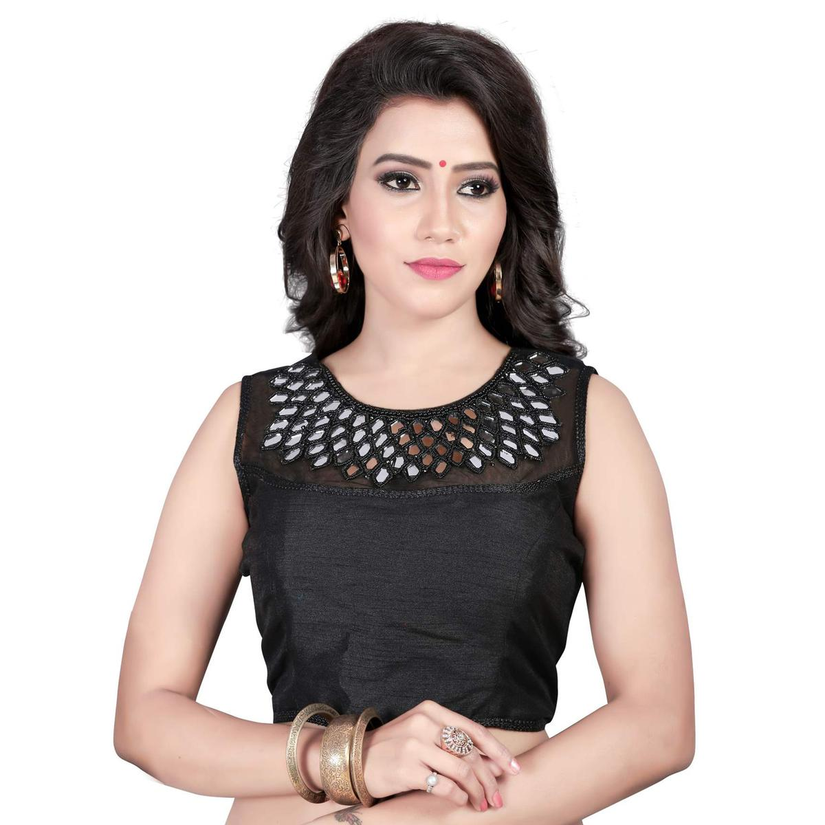 Black Embroidered & Mirror Work Saree Blouse