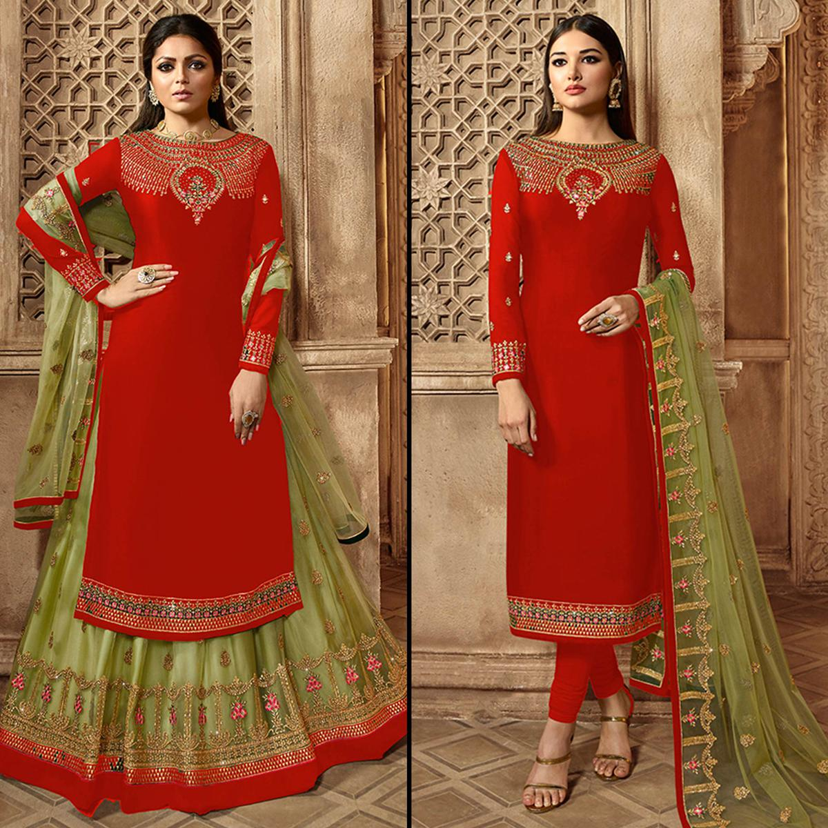Unique Red Colored Partywear Embroidered Georgette Dual Bottom Suit
