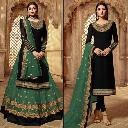 Demanding Black-Green Colored Partywear Embroidered Georgette Dual Bottom Suit