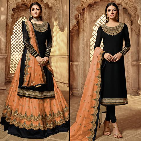 Refreshing Black-Peach Colored Partywear Embroidered Georgette Dual Bottom Suit