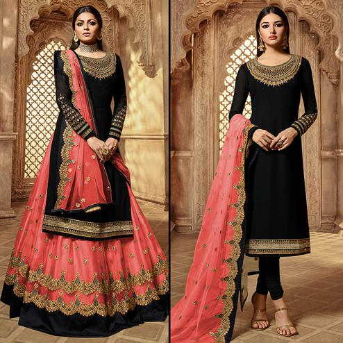 Magnetic Black-Pink Colored Partywear Embroidered Georgette Dual Bottom Suit