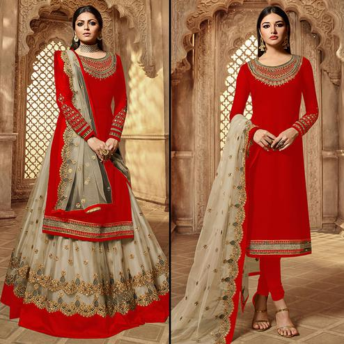 Flattering Red-Grey Colored Partywear Embroidered Georgette Dual Bottom Suit
