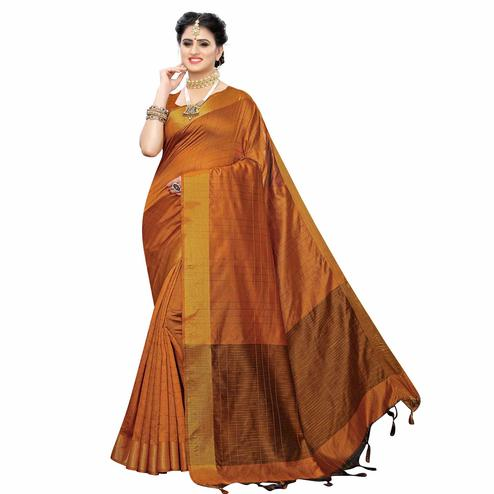 Majesty Brown Colored Festive Wear Woven Cotton Silk Saree