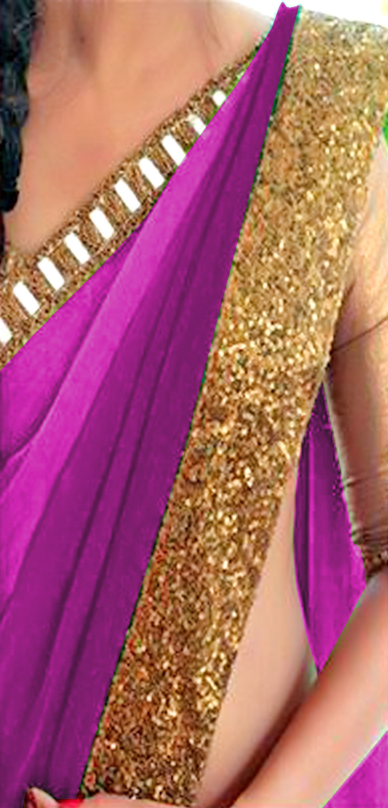Shaded Purple Border Work Saree