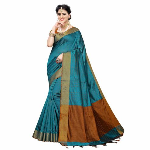 Flattering Rama Blue Colored Festive Wear Woven Cotton Silk Saree
