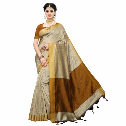 Excellent Beige Colored Festive Wear Woven Cotton Silk Saree