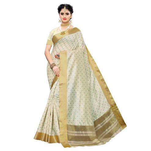 Exclusive Cream Colored Festive Wear Woven Sana Silk Saree