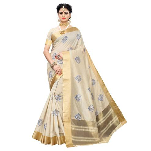 Adorning Cream Colored Festive Wear Woven Sana Silk Saree