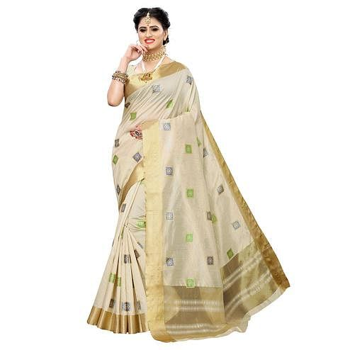 Groovy Cream Colored Festive Wear Woven Sana Silk Saree