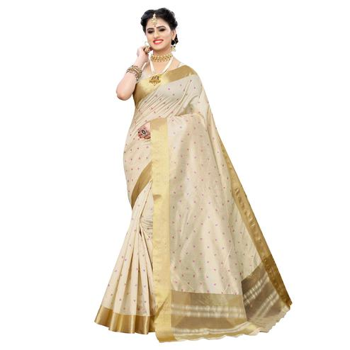 Entrancing Cream Colored Festive Wear Woven Sana Silk Saree