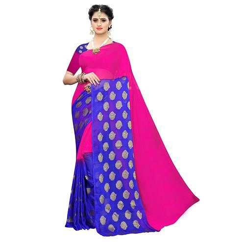 Intricate Pink Colored Festive Wear Woven Chiffon Saree
