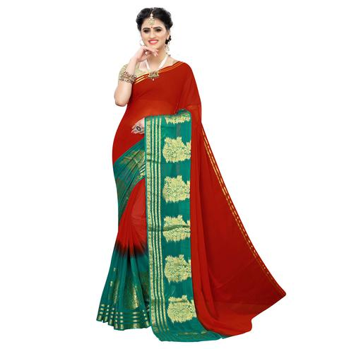 Arresting Red Colored Festive Wear Woven Chiffon Saree