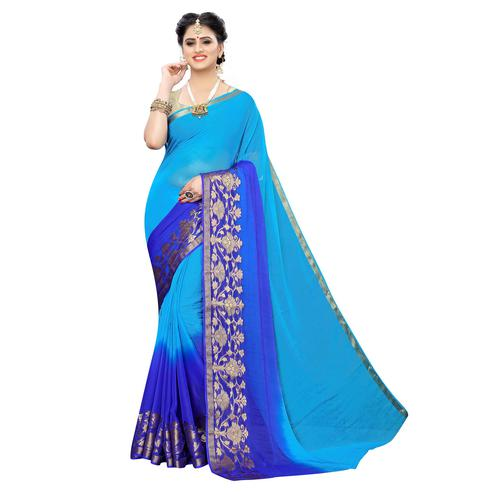 Desirable Sky Blue Colored Festive Wear Woven Chiffon Saree