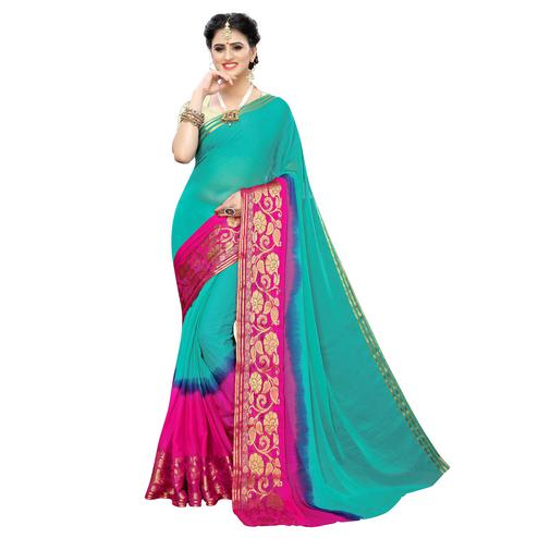 Exotic Green Colored Festive Wear Woven Chiffon Saree