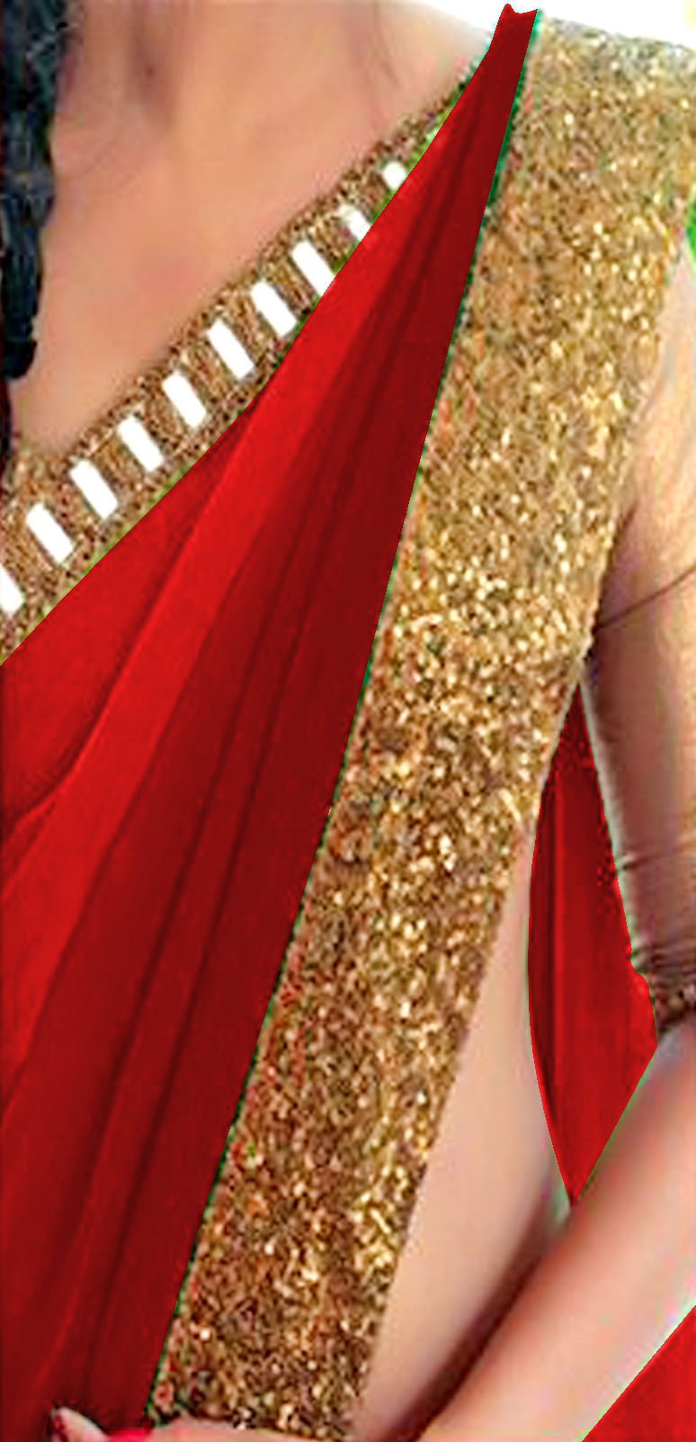 Shaded Red Georgette Saree