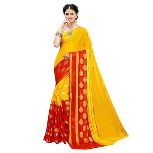 Trendy Yellow Colored Festive Wear Woven Chiffon Saree