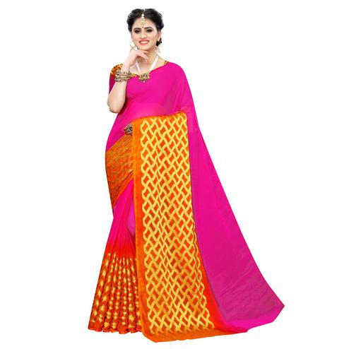 Elegant Pink Colored Festive Wear Woven Chiffon Saree