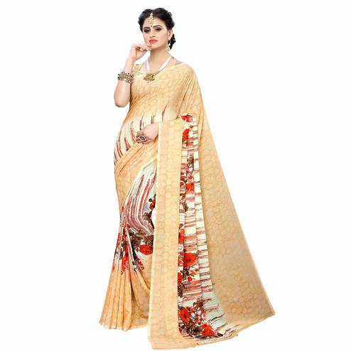 Graceful Cream Colored Casual Wear Printed Georgette Saree