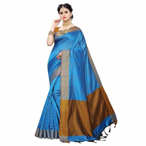 Unique Sky Blue Colored Festive Wear Woven Cotton Silk Saree