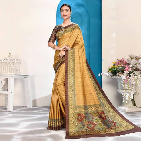 Adorable Golden Colored Casual Wear Digital Printed Art Silk Saree