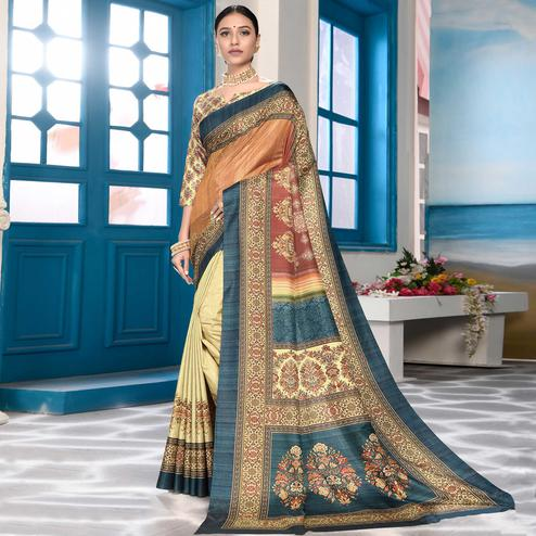 Glorious Beige-Multi Colored Casual Wear Digital Printed Art Silk Saree