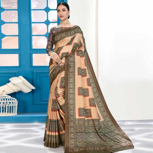 Blooming Light Peach Colored Casual Wear Digital Printed Art Silk Saree