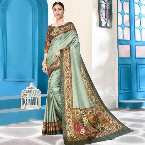Charming Mint Green Colored Casual Wear Digital Printed Art Silk Saree