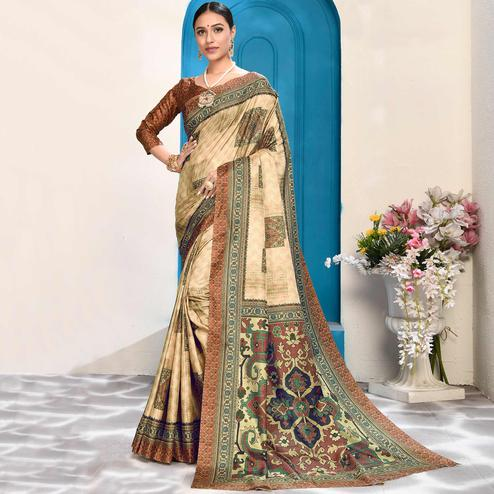 Captivating Beige Colored Casual Wear Digital Printed Art Silk Saree