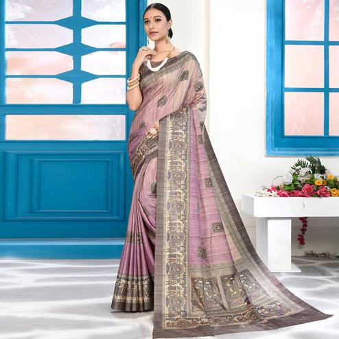 Engrossing Lavender Colored Casual Wear Digital Printed Art Silk Saree