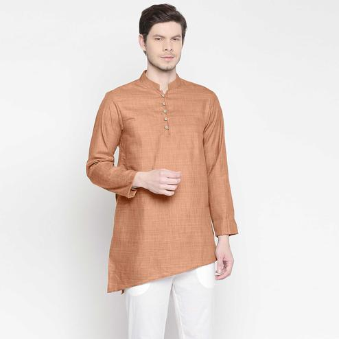 Classy Beige Colored Festive Wear Cotton Short Kurta