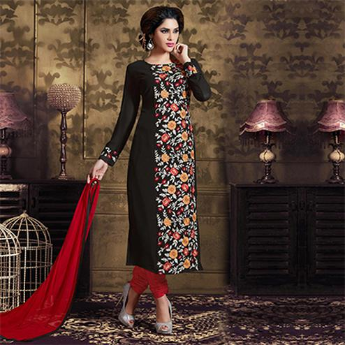 Black Party Wear Georgette Churidar Suit