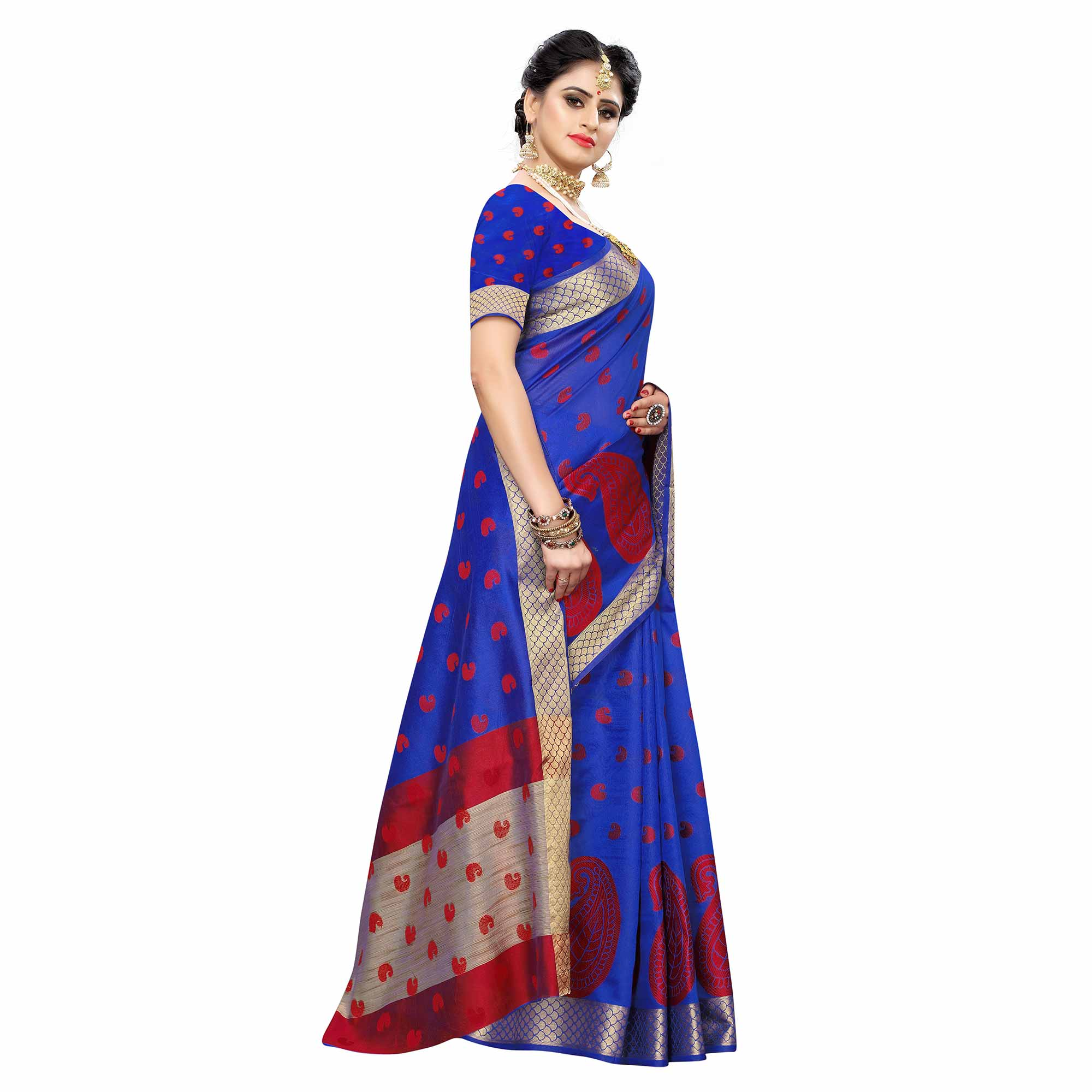 Intricate Blue Colored Festive Wear Woven Raw Silk Saree