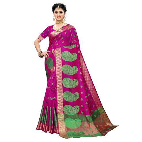 Arresting Pink Colored Festive Wear Woven Raw Silk Saree