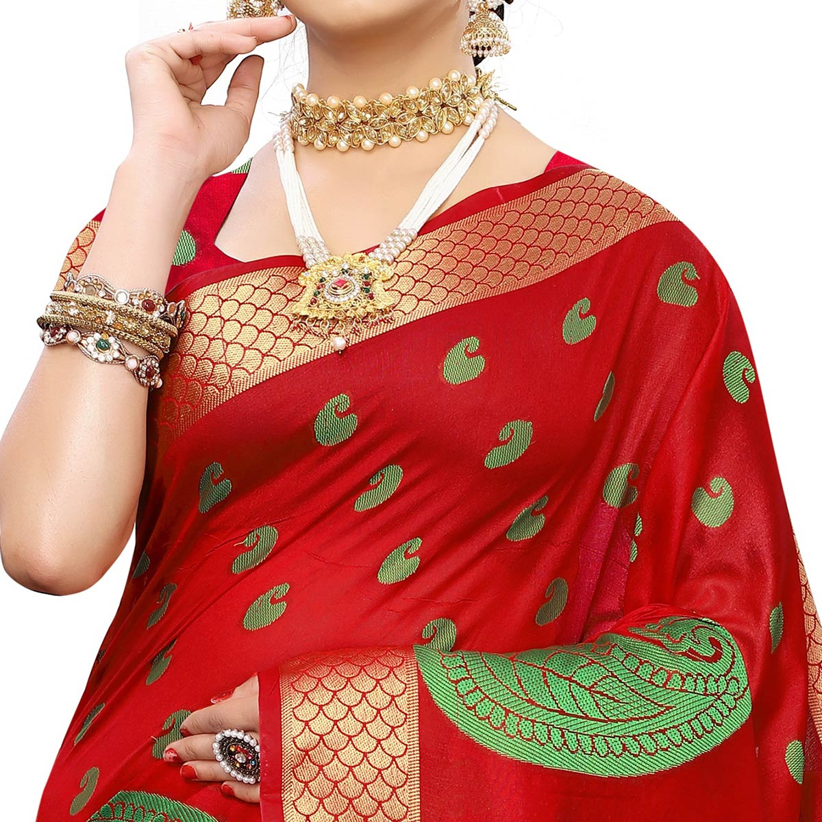 Desirable Red Colored Festive Wear Woven Raw Silk Saree