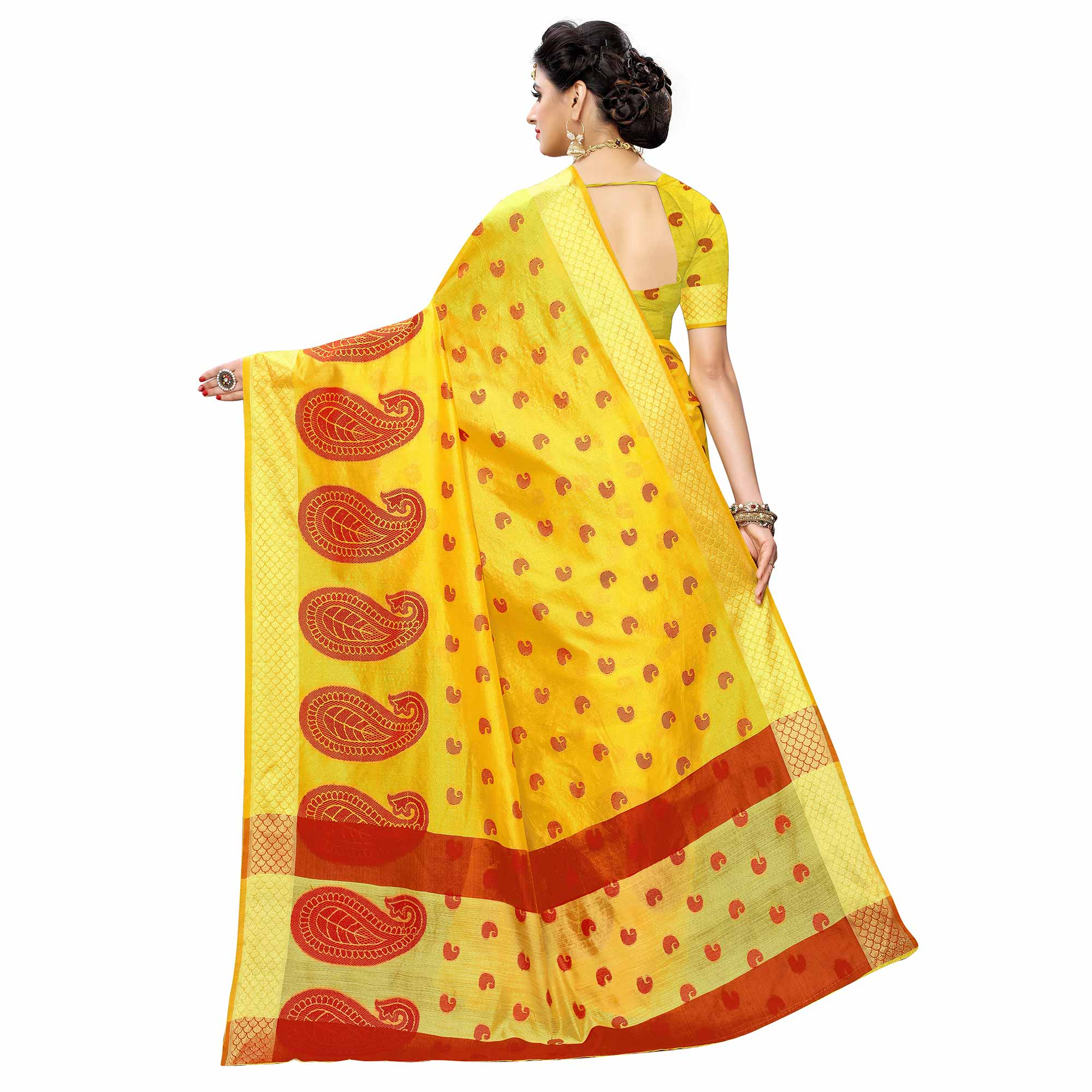 Exotic Yellow Colored Festive Wear Woven Raw Silk Saree