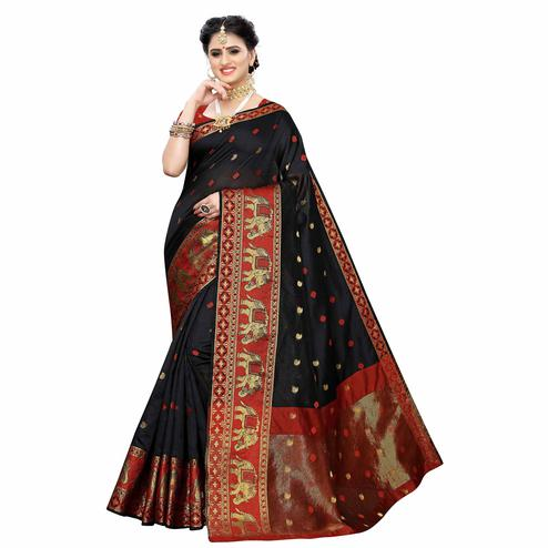 Trendy Black Colored Festive Wear Woven Raw Silk Saree