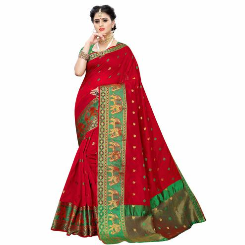 Radiant Red Colored Festive Wear Woven Raw Silk Saree
