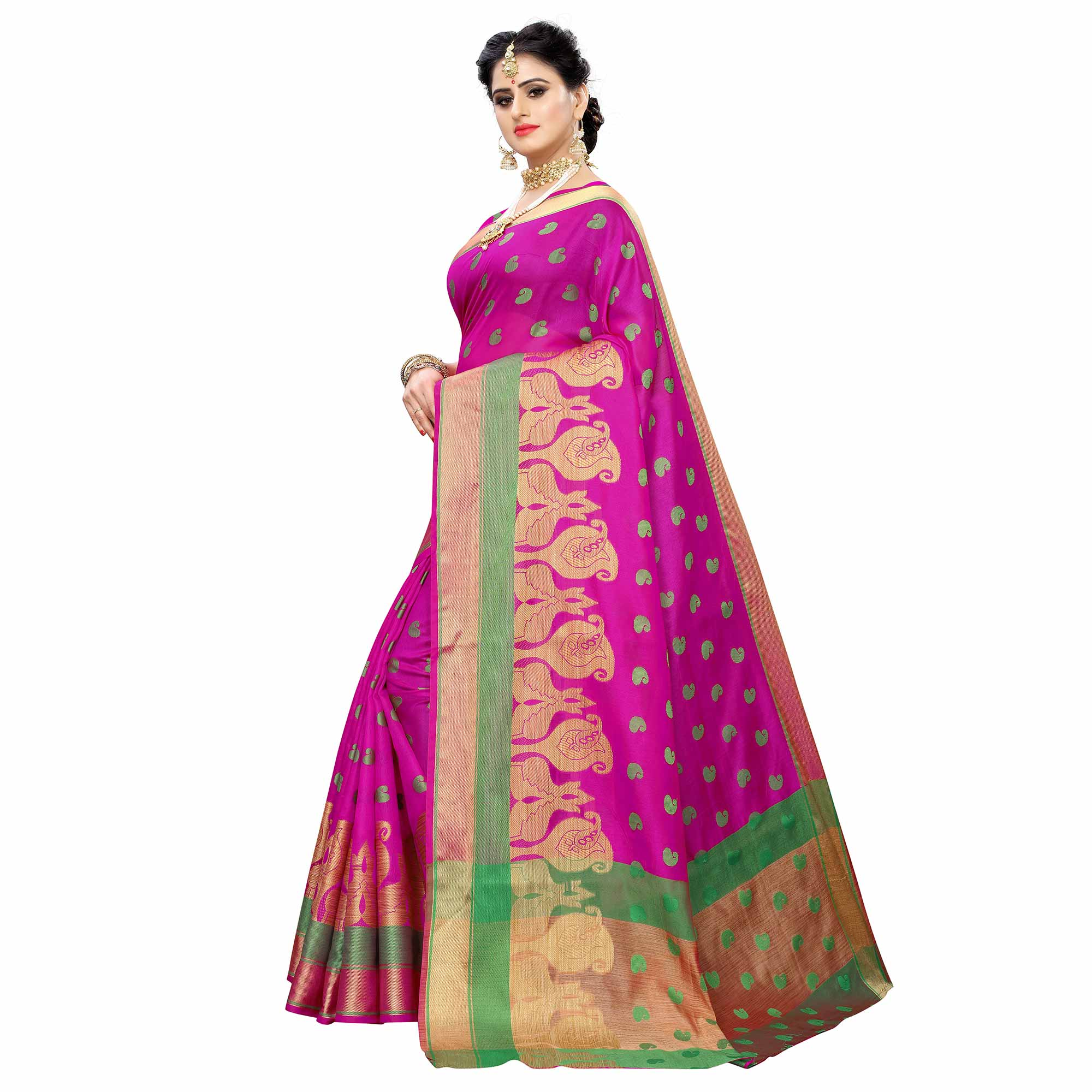Energetic Pink Colored Festive Wear Woven Raw Silk Saree