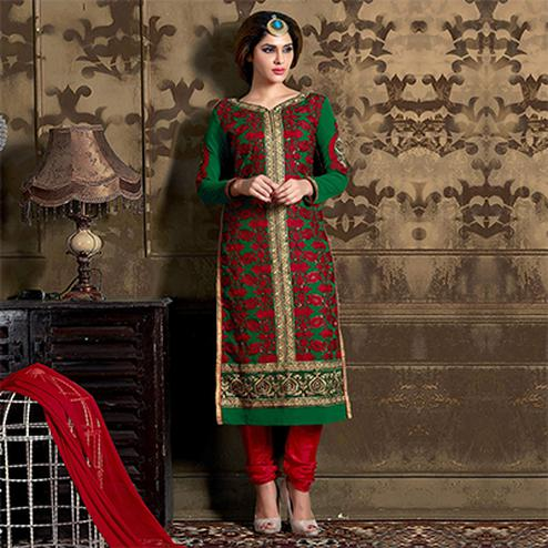 Green - Red Georgette Salwar Suit