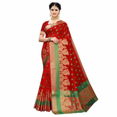 Glowing Red Colored Festive Wear Woven Raw Silk Saree