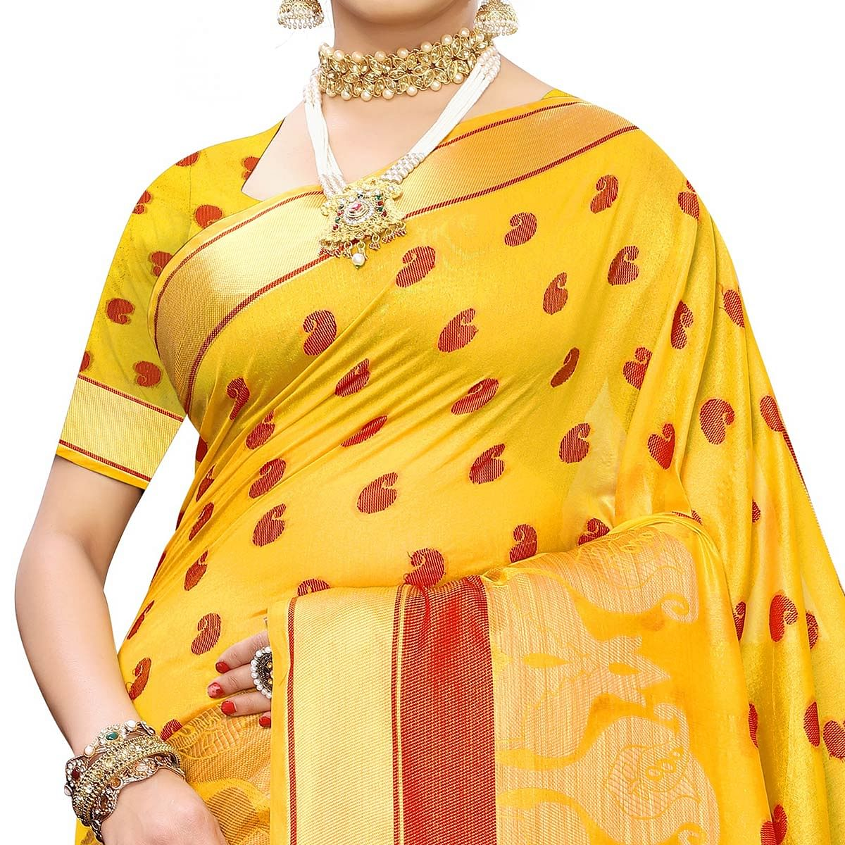 Exceptional Yellow Colored Festive Wear Woven Raw Silk Saree