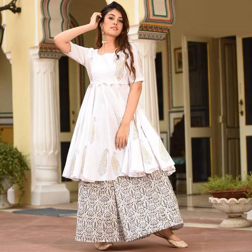 Flamboyant White Colored Casual Digital Printed Pure Muslin Kurti-Palazzo Set