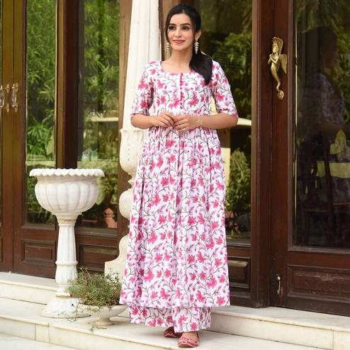 Stunning White Colored Casual Digital Printed Pure Muslin Kurti-Palazzo Set