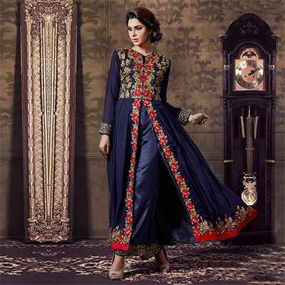 Navy Blue Front Slit Georgette Anarkali