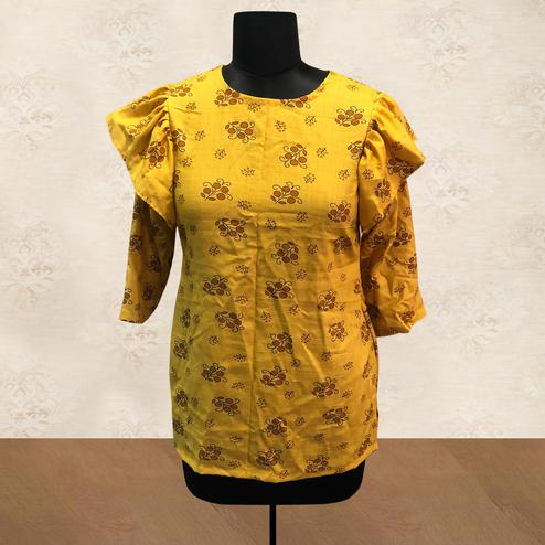 Engrossing Yellow Colored Casual Printed Cotton Top