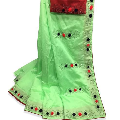 Delightful Green Colored Partywear Stone Work Zoya Silk Saree