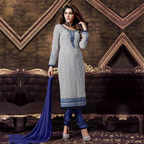 Grey - Blue Embroidered Salwar Suit