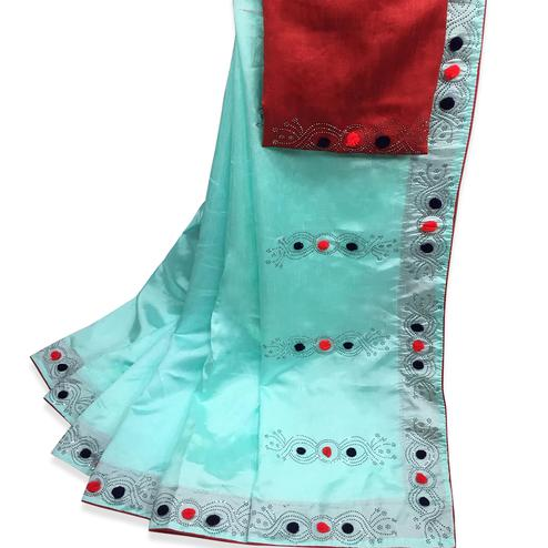 Captivating Sky Blue Colored Partywear Stone Work Zoya Silk Saree