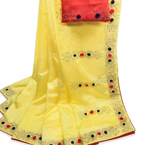 Eye-catching Yellow Colored Partywear Stone Work Zoya Silk Saree